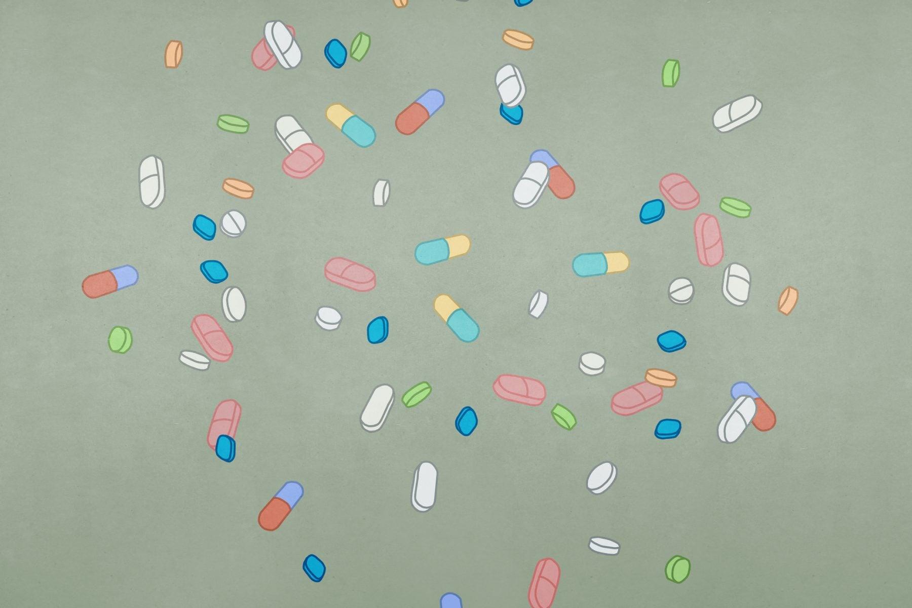 An illustration of vitamin pills