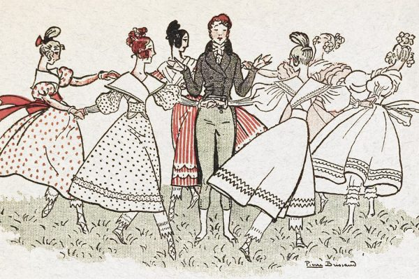 Illustration of a man surrounded by women