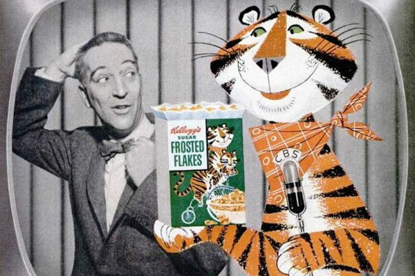 television personality Garry Moore and Kellogg's cereal character Tony the Tiger from a 1955 Kellogg's ad.