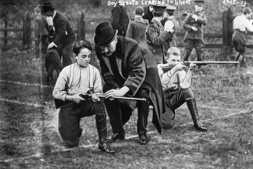 Boy Scouts learning to shoot