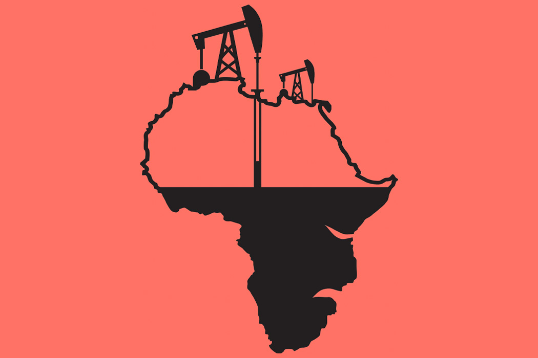 An illustration of the continent of Africa slowly being drained of oil
