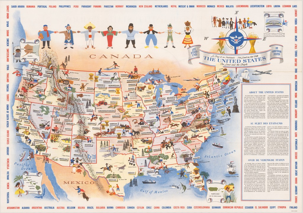 United States – The Land and The People. Mary Rouin. 1958. Persuasive Maps: PJ Mode Collection