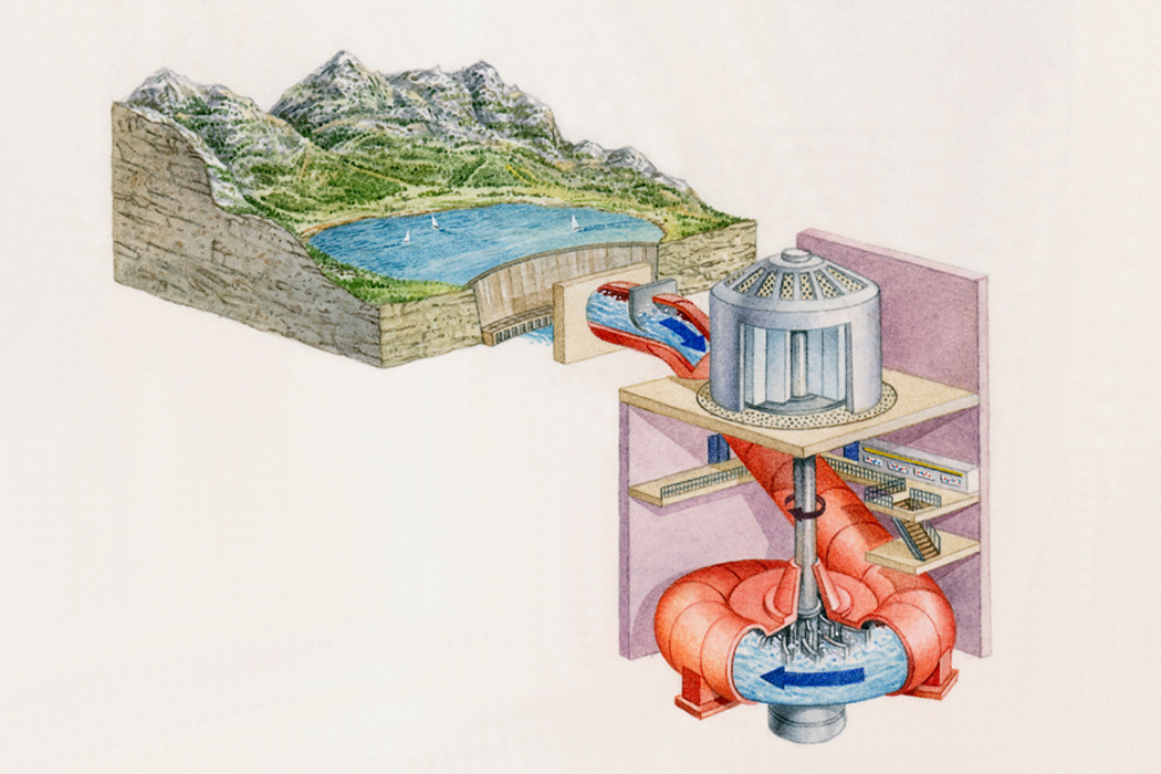 Illustration of reservoir in Austrian mountains supplying water for storage in hydroelectric turbines