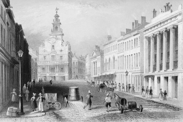 Antique engraving of a view of the State Street, Boston. Mid 1800s.