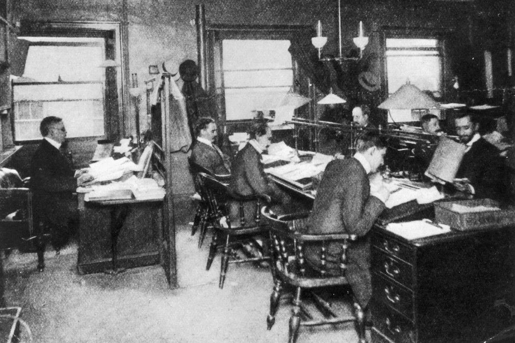 The editorial staff at Reuters Press Agency, circa 1900.