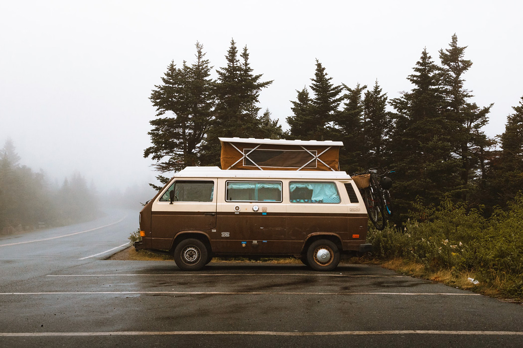 A camper van parked beside some trees in the fog