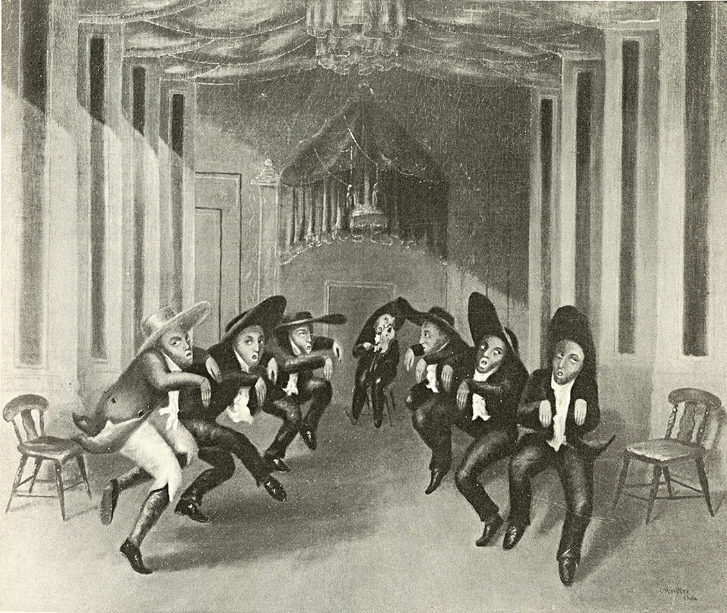 "Painting of the minstrel ""Shaker dance"" by C. Winter."