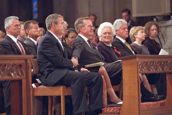 George W. Bush, George H.W. Bush, Barbara Bush. Bill Clinton, Hillary Clinton and Chelsea Clinton at at the National Cathedral in Washington, DC.