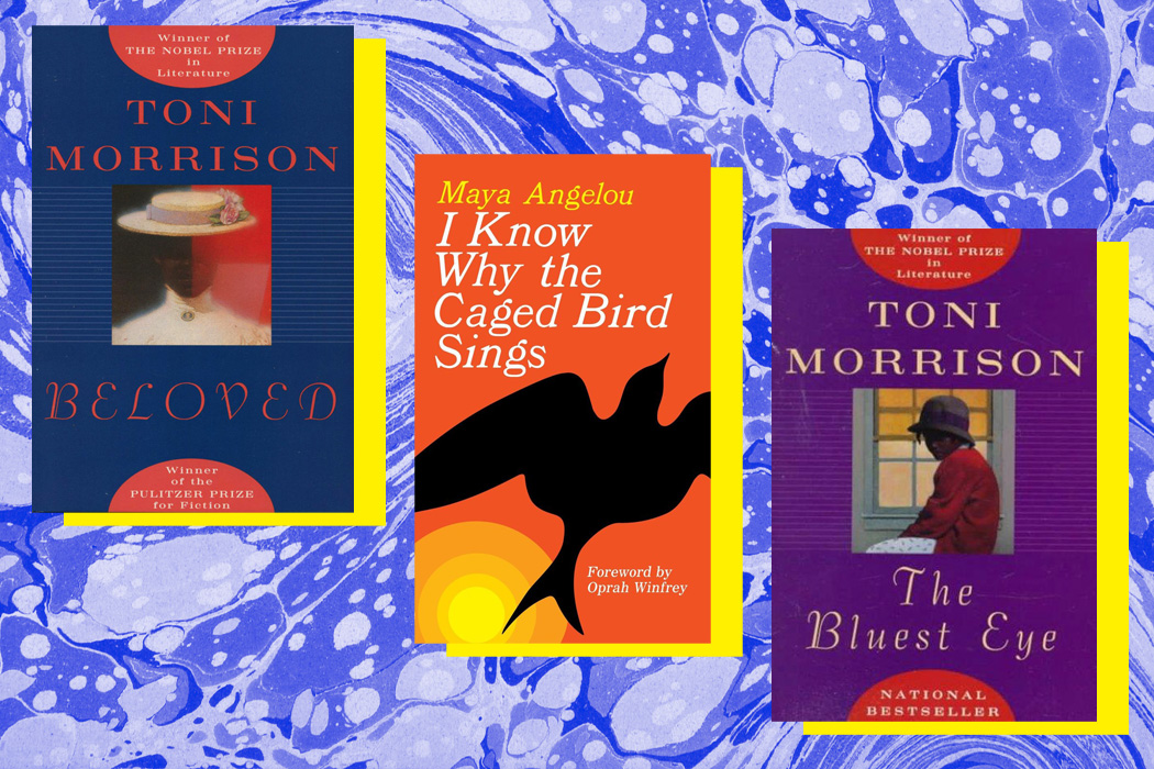 "The covers for ""The Bluest Eye"" and ""Beloved"" by Toni Morrison and ""I Know Why the Caged Bird Sings"" by Maya Angelou"