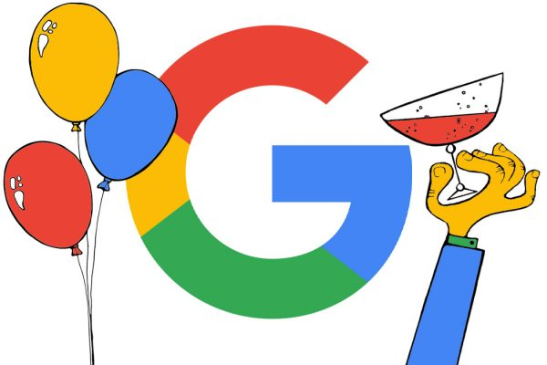 The google G drinking champagne with balloons