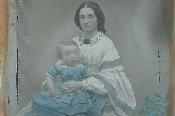 Mother and Child Hand Coloured Ambrotype (Collodion Positive) c. 1860