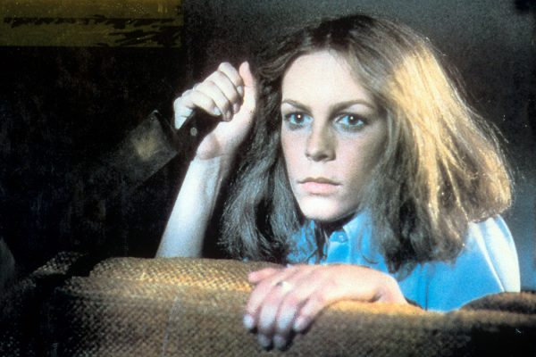 Jamie Lee Curtis holds a knife in a scene from the film 'Halloween', 1978