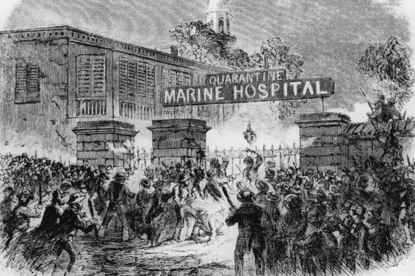 Illustration: A mob attacking the Quarantine Marine Hospital in New York because they believed that its use was responsible for the numerous yellow fever epidemics. Original Publication: Harper's Weekly - pub. 1858 (Photo by Hulton Archive/Getty Images)  Source: Getty