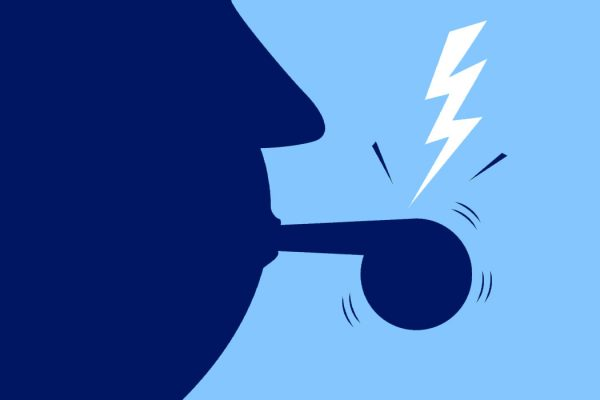 An illustration of a person blowing a whistle