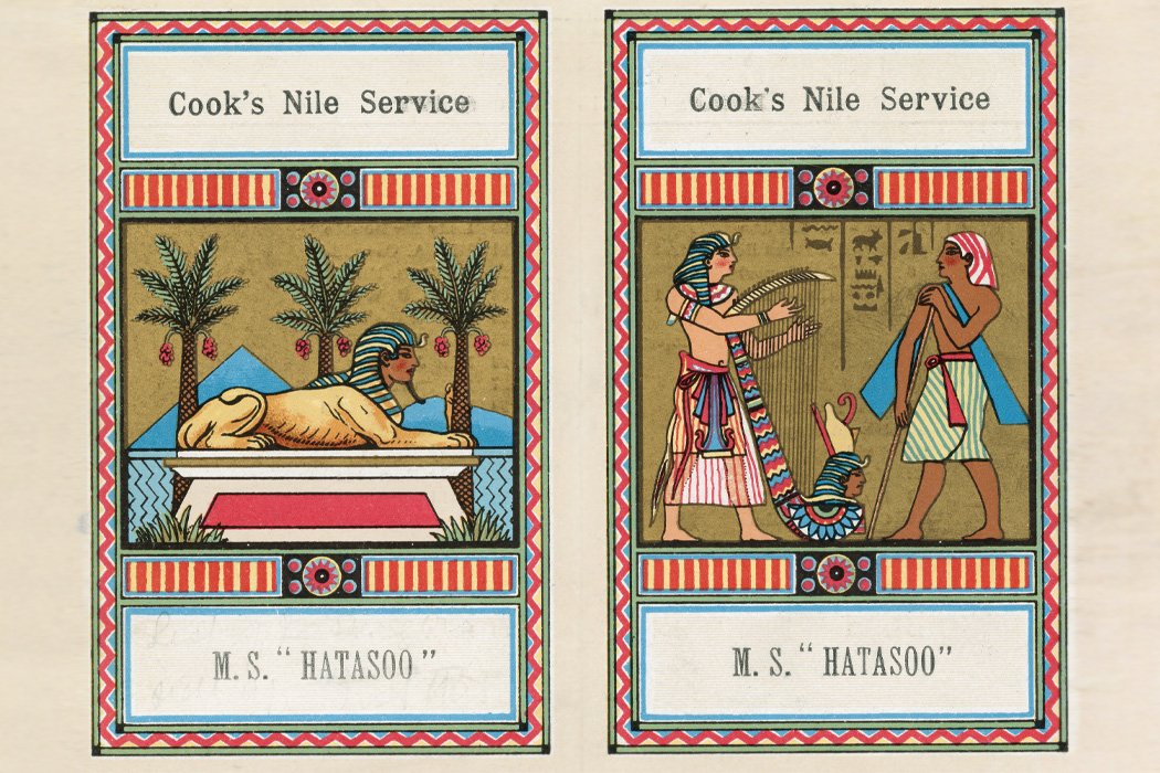 An advertisement for 'Cook's Nile Service', a cruise on the Express Steamer 'MS Hatasoo' run by Thomas Cook & Son Ltd., circa 1900.