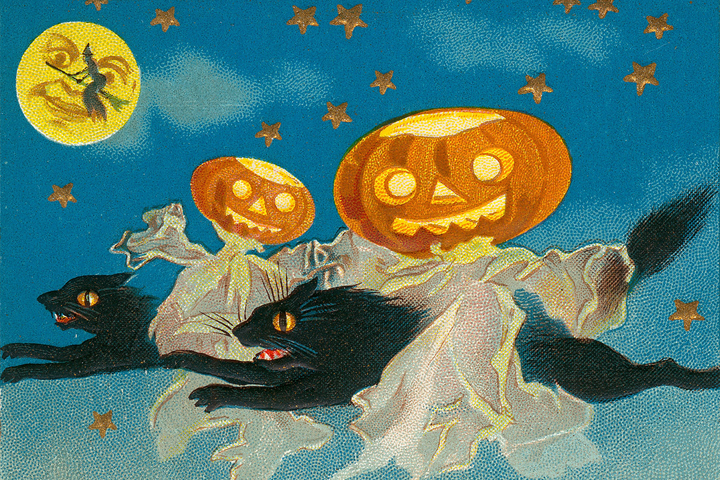 Source: https://commons.wikimedia.org/wiki/File:%22A_Thrilling_Hallowe%27en.%22_(Three_black_cats_flying_through_the_air_with_Jack-o-lanterns).jpg