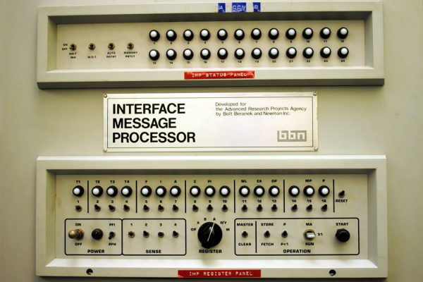 the front panel of the very first Internet Message Processor (IMP), which went to UCLA's Boelter 3420 lab and became the very first node on the ARPANET, which would become the Internet