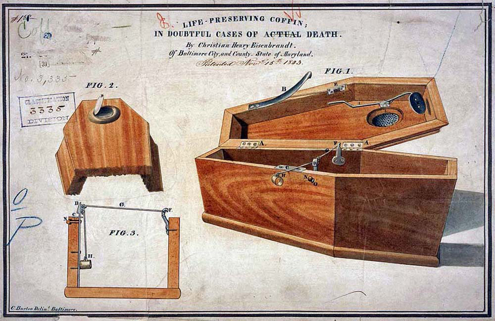 Life preserving coffin in doubtful cases of actual death by C. H. Eseinbrandt