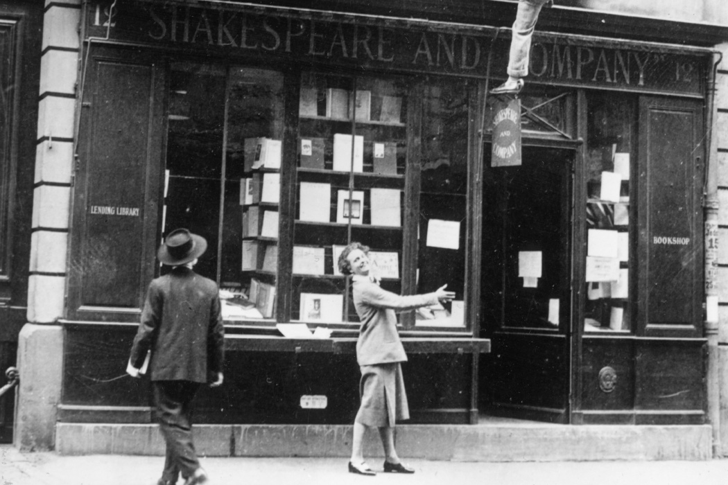 Sylvia Beach outside of Shakespeare & Co., circa 1935