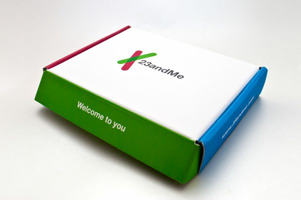 A box for a 23andMe test kit