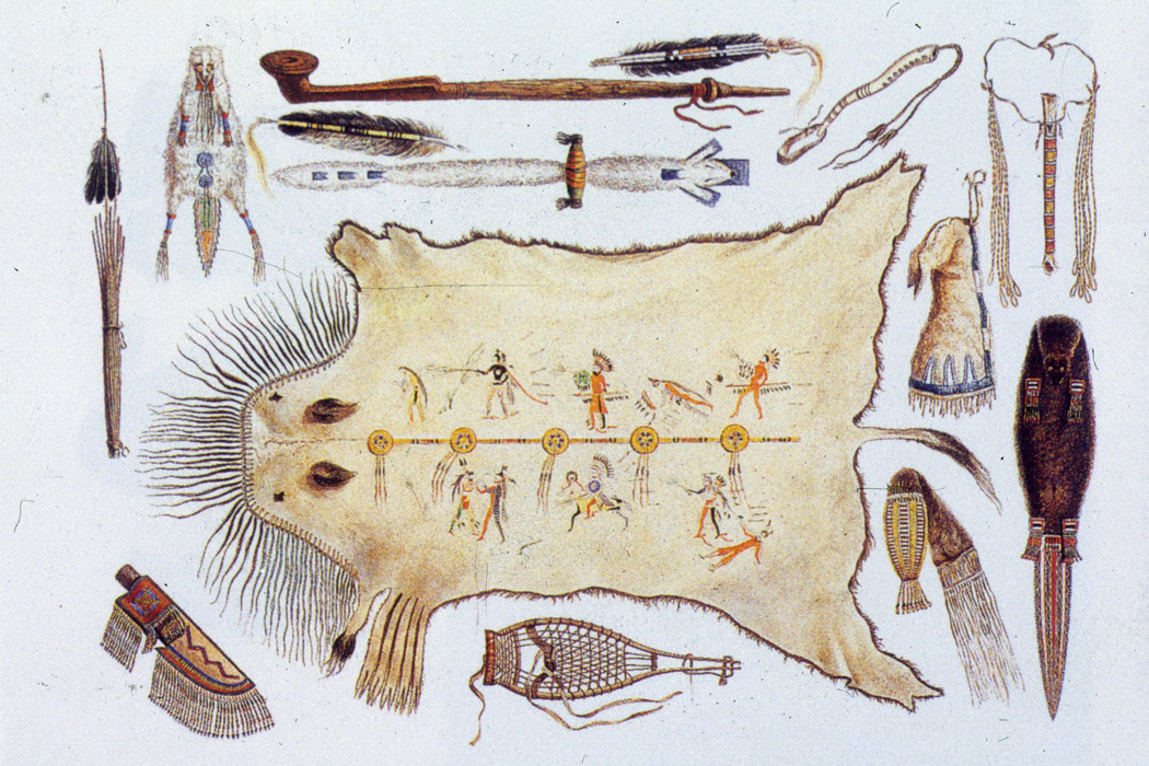 A collection of Native American utensils and weapons
