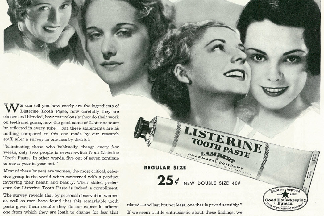 A 1934 ad for Listerine toothpaste