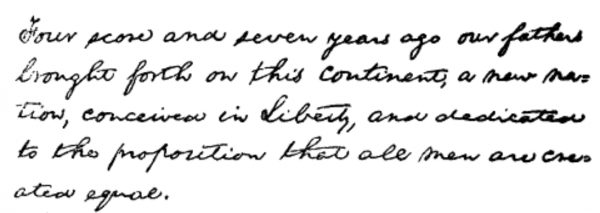 handwritten first paragraph of the gettysburg address
