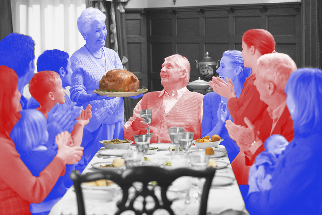 A family around a thanksgiving dinner table, colored red and blue