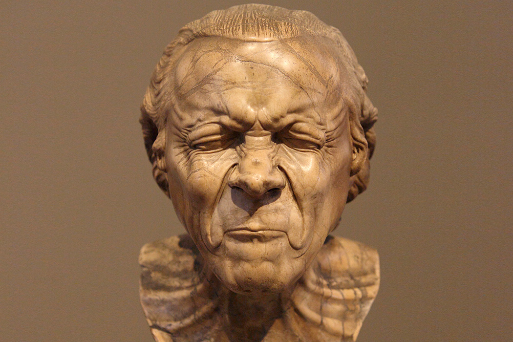 """The Vexed Man"" by Franz Xaver Messerschmidt at The Getty Center in Los Angeles, California."