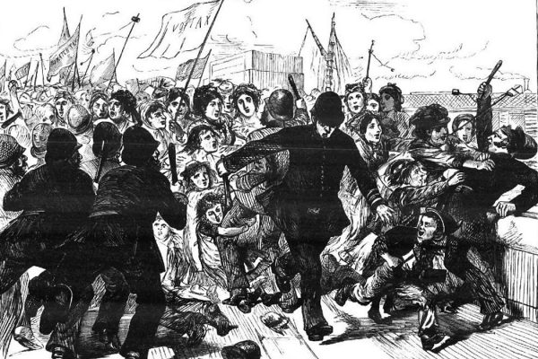 Cartoon showing police brutality against the match makers' demonstration, 1871