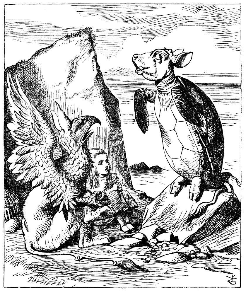 Alice sitting between Gryphon and Mock turtle