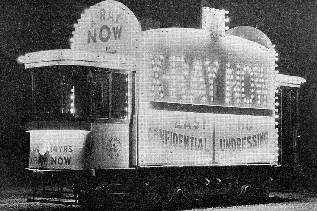 An x-ray tram car