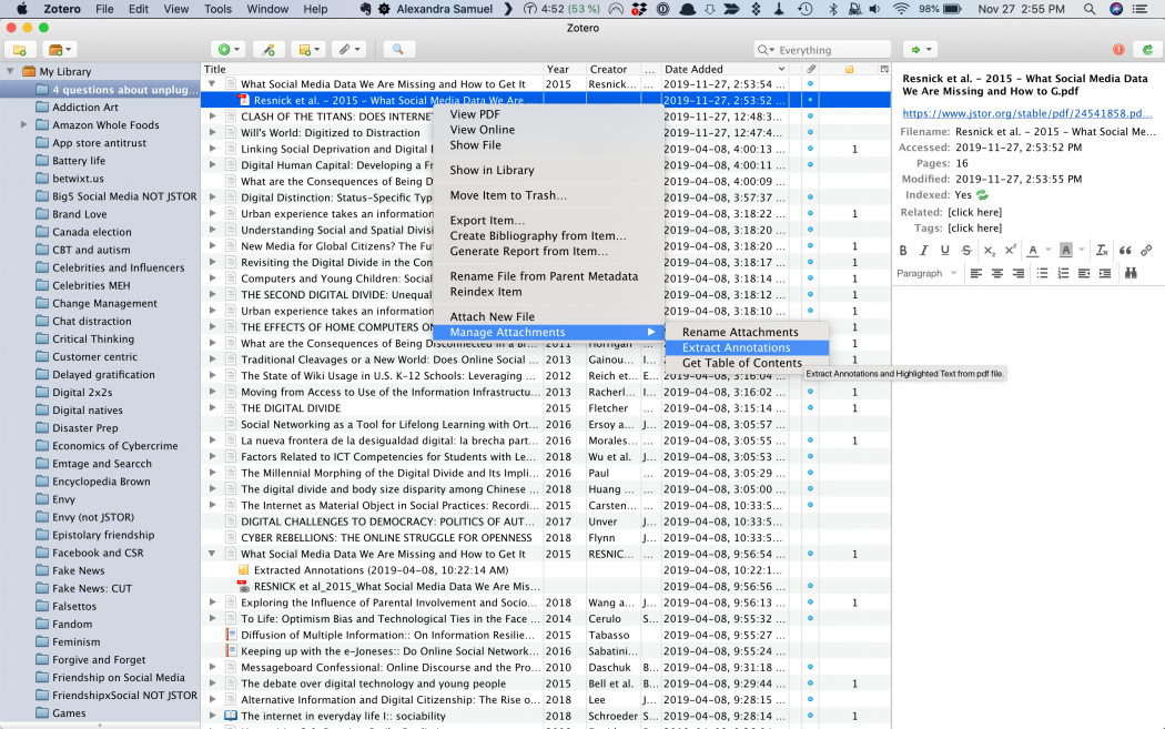 "Zotero's ""extract annotations"" submenu, thanks to Zotfile"