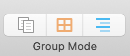 Three buttons for group mode options