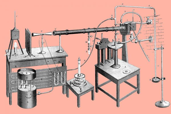 John Tyndall's setup for measuring radiant heat absorption by gases