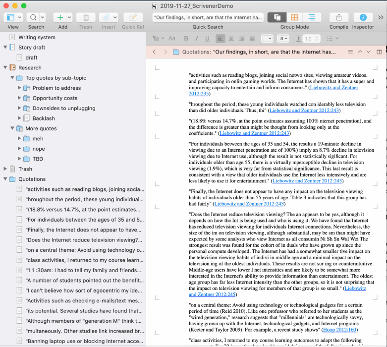 Scrivener view with quotation folders in left-hand binder and full quotations visible in main window