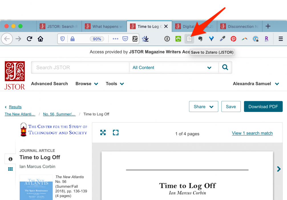 Save to Zotero button shown in browser bar