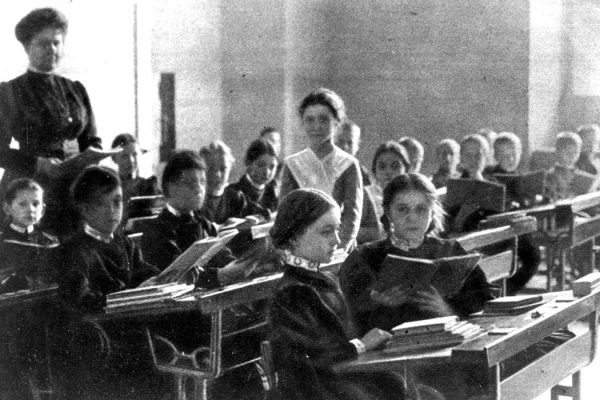 A classroom of young women