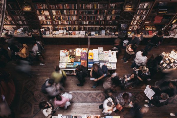An overhead view of a book store