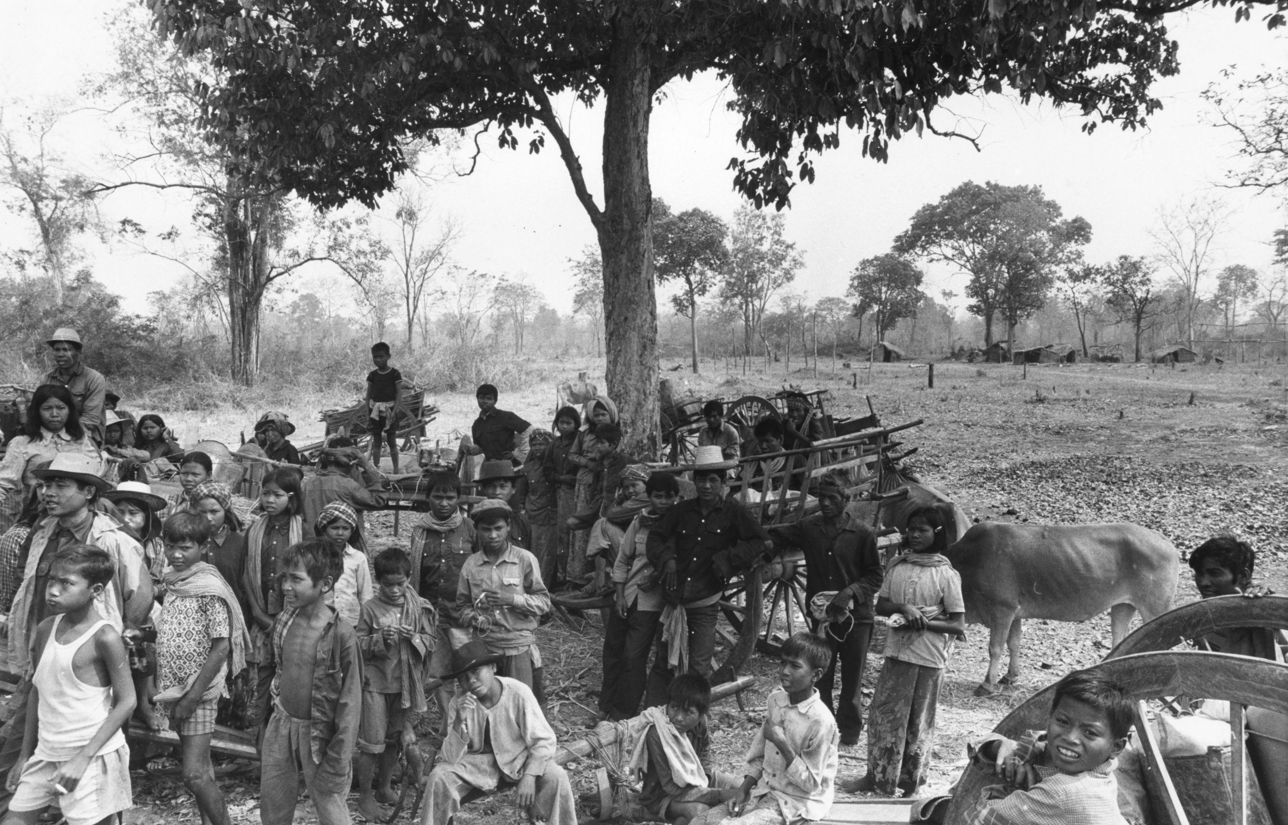 Refugees on their way to the Thai border to collect food for their villages in Cambodia, during unrest in Cambodia, c. 1980