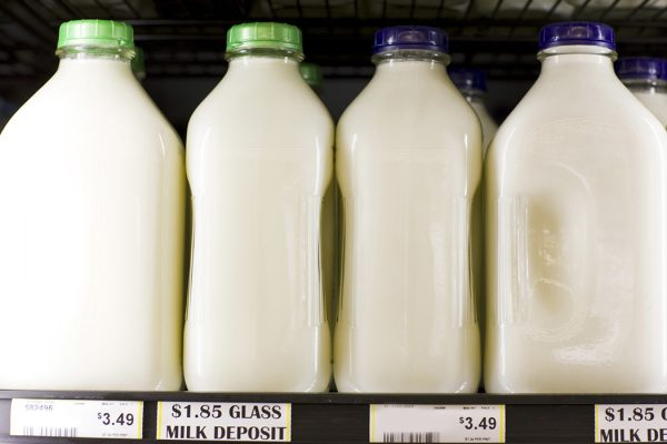 Milk in glass jugs at a supermarket