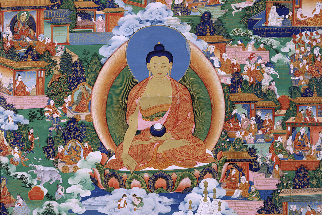 Source: https://commons.wikimedia.org/wiki/File:Shakyamuni_Buddha_with_Avadana_Legend_Scenes_-_Google_Art_Project.jpg