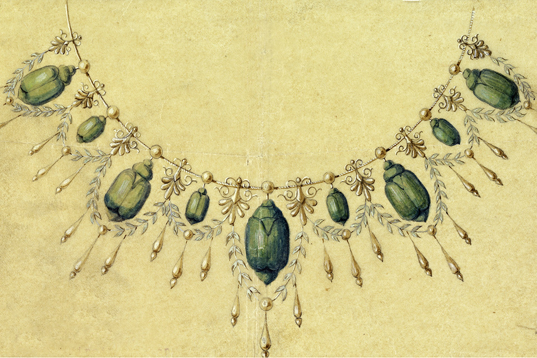 Design for Necklace with Brazilian Beetles, ca. 1900