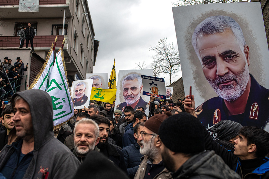 A protest outside the U.S. Consulate on January 05, 2020 in Istanbul, Turkey.