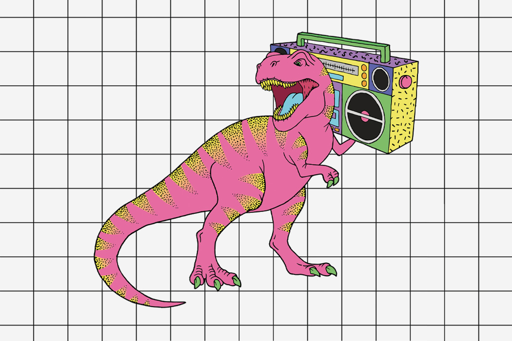 A cartoon of a T Rex holding a boom box