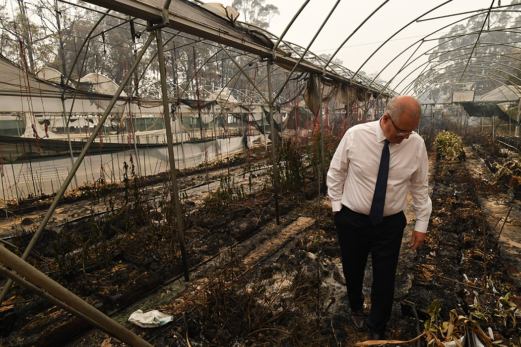 Prime Minister Scott Morrison tours the Wildflower farm owned by Paul and Melissa Churchman on January 3, 2020 in Sarsfield, Victoria, Australia.