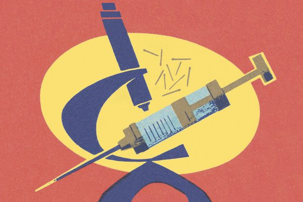 An illustration of a syringe and a microscope