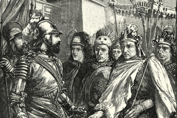 Hernan Cortes, Spanish Conquistador meeting Moctezuma II Aztec Emperor
