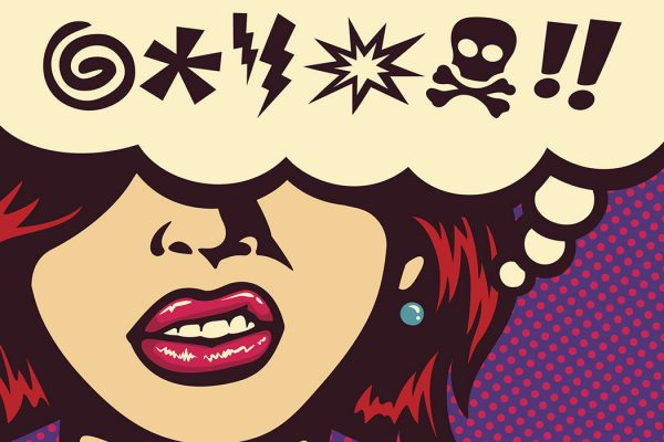 Pop art style comics panel angry woman grinding teeth with speech bubble and swear words symbols