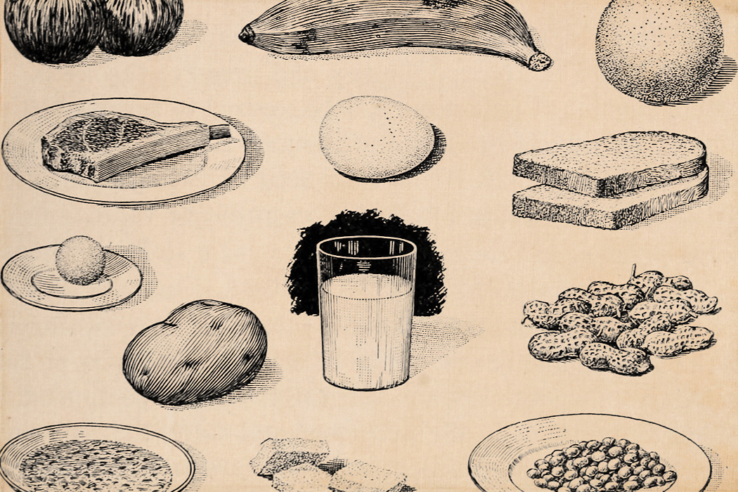An early 20th century drawing of different foods